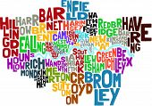 foto of hackney  - abstract Vector illustration of all the London Boroughs and the river thames depicted through text - JPG