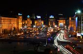 Kyiv, Ukraine - November 10: Night Panorama Of Maidan Nezalezhnosti (independence Square), The Centr