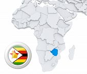 Zimbabwe On Africa Map