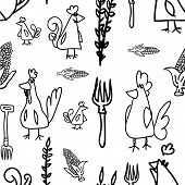Chickens And Hens Seamless Pattern