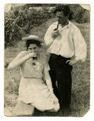 KIEV, USSR, CIRCA 1948: Antique photo, portrait of a man and woman having a picnic, circa 1948