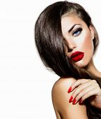 foto of makeover  - Sexy Beauty Girl with Red Lips and Nails - JPG