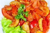 saute from zucchini, tomato, pepper and carrot