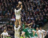 TWICKENHAM LONDON, 27/02/2010. England team captain Steve Borthwick wins a lineout during the RBS 6