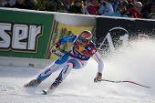KITZBUHEL TIROL, AUSTRIA - JAN 24 2009; Kitzbuhel Tirol Austria, Didier Cuche (SUI) competing in the