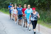 NIKOLSKY, RUSSIA - JULY 14: Unidentified participants during of local competitions in Nordic walking