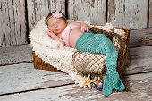 stock photo of mermaid  - Newborn baby girl wearing a crocheted teal and pink mermaid costume sleeping in a basket with a bleached wood background - JPG