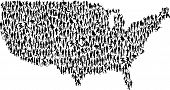 image of person silhouette  - A vector map of the United States made of people - JPG