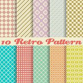 Ten retro different vector seamless patterns (tiling)