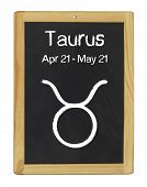 the zodiac sign Taurus on a blackboard