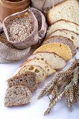 Various types of bread and cereals