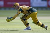LONDON - 12 SEPT 2009; London England: Australia team wicket keeper Timothy Paine reaches out in an