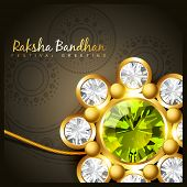 stock photo of rakshabandhan  - beautiful golden rakhi for indian rakshabandhan festival - JPG