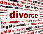 stock photo of divorce-papers  - Divorce legal words poster design - JPG