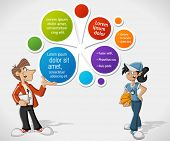Colorful template for advertising brochure with cartoon coaches