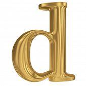 Golden letter d. Gold solid alphabet, high quality 3d render