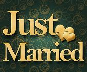 Just Married - Green Floral