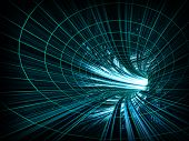 Abstract Background: Fast Motion In Turning Blue Tunnel With The Light At The End