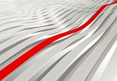 Abstract Background: White 3D Wave Stripes With One Red