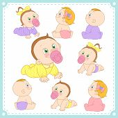 stock photo of pacifier  - vector illustration of baby boys and baby girls with white background - JPG