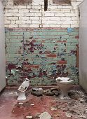picture of derelict  - smashed and broken toilets in a derelict building - JPG