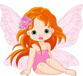 stock photo of sweet dreams  - Illustration of little sitting fairy - JPG