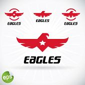 stock photo of bat wings  - Red Vector Eagle Symbol Illustration With Sticker - JPG