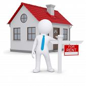Weiße 3d Mensch und kleinen Haus mit Zeichen einer lease