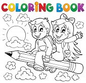 Coloring book pupil theme 3 - eps10 vector illustration.
