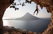 Rock climber at sunset Kalymnos Island, Greece.