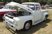 1956 Ford F-100 White Truck Side View