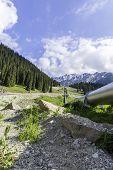 Pipeline On Road  Big Almaty Lake, Tien Shan Mountains In Almaty, Kazakhstan,asia