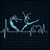 heartbeat make a yoga girl and heart symbol