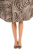 stock photo of peep-toes  - Legs of slim tanned woman in stylish peep - JPG