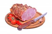 Baked Pork Neck, Tomatoes, Peppers, Garlic And Knife