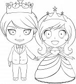 stock photo of chibi  - Vector illustration coloring page of a prince and princess holding hands and smiling - JPG