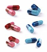 Red and blue tablets with clipping path.