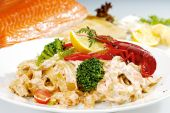 Craw Fish On The Top Of Pasta And Vegetable