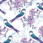 image of sakura  - Seamless spring cherry pattern with birds - JPG