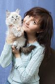 Charming Woman And Sibirsky Nevsky Kitten