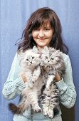 Charming Young Woman With Kittens