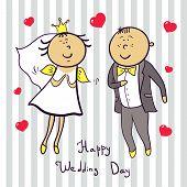 Romantic wedding couple. Cute married.
