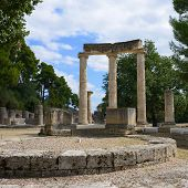 stock photo of olympic-games  - Ancient ruins of the Philippeion in Olympia - JPG