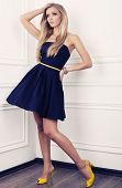 beautiful woman with blond hair in blue dress