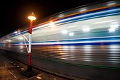 motion blur outdoor of high speed train in subway