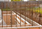 stock photo of foundation  - formwork for the concrete foundation building site horizontal outdoors - JPG