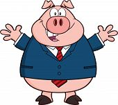 Businessman Pig Cartoon Character With Open Arms