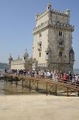 Tourists Waiting To Get Into The Belem Tower