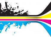picture of end rainbow  - vector cmyk lines splashed at one end - JPG