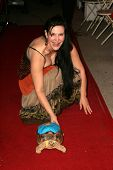 Jackie Watson and tortoise Sophie at the first annual Beverly Hills Mutt Club Fashion and Halloween